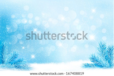 Blue Christmas background with tree branches and snowflakes. Raster version  - stock photo