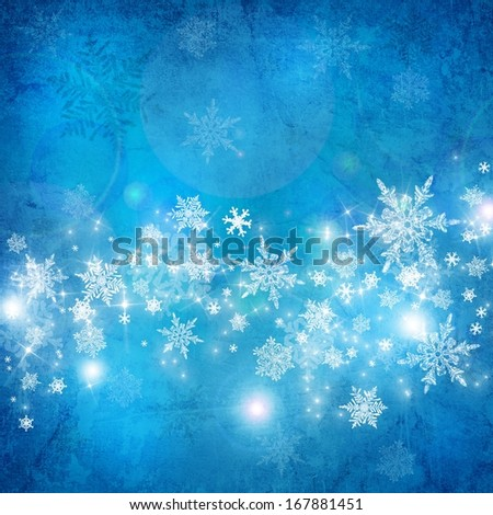 Blue christmas background with white snowflakes and stars - stock photo