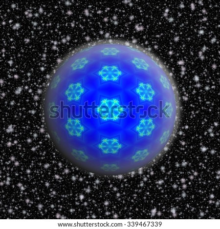 Blue Christmas ball decorated with fractal snowflakes, rimed on the snowy black background - stock photo