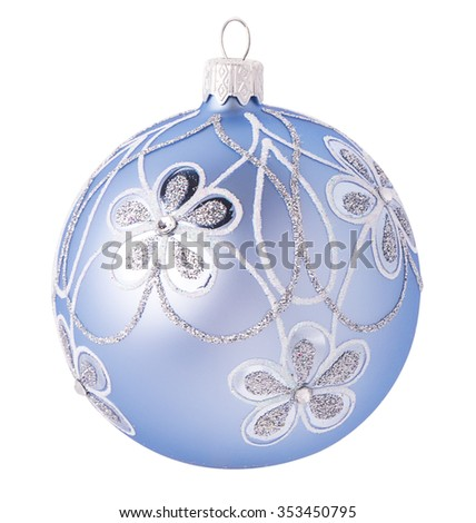 blue christmas ball decoration with a beautiful pattern with clipping path, isolated on white background - stock photo