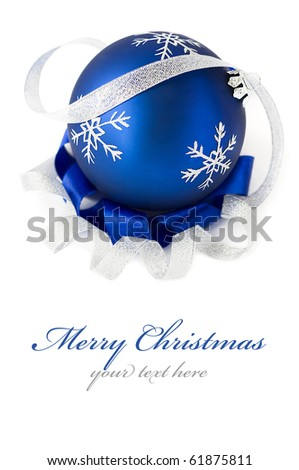 Blue christmas ball isolated - stock photo