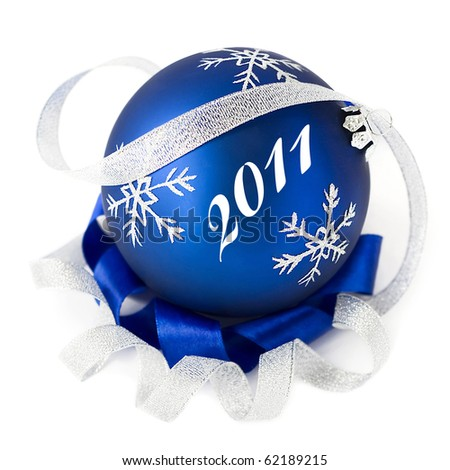 Blue christmas ball isolated 2011 - stock photo