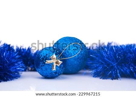 Blue christmas ball isolated on white background - stock photo