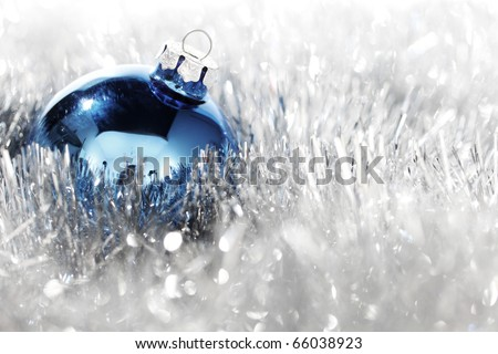 blue christmas ball on silver background - stock photo