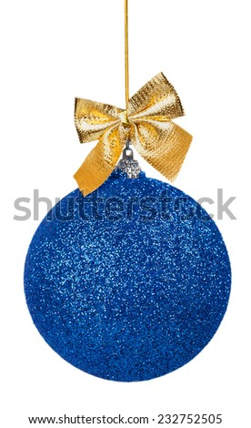 Blue Christmas ball with golden bow isolated on a white background - stock photo
