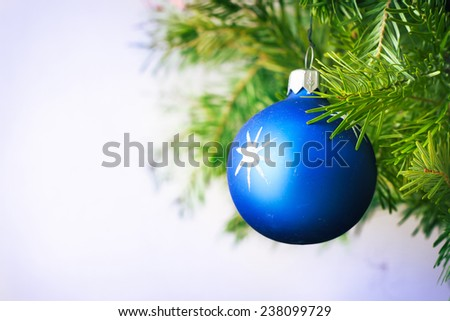 Blue Christmas ball with white star - stock photo