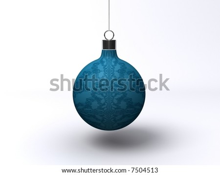 Blue Christmas ball with with fractal on white background. - stock photo