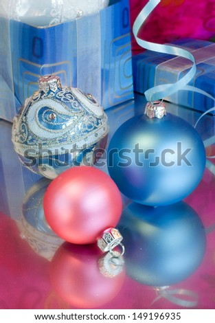 Blue Christmas balls - stock photo