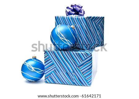 Blue christmas balls and presents. White background - stock photo