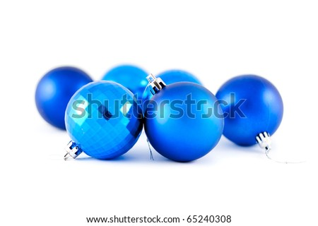 blue christmas balls isolated on white - stock photo