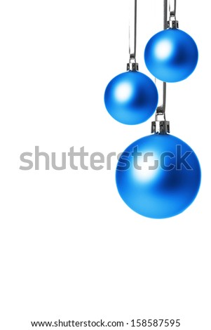 blue christmas balls isolated with white background  - stock photo