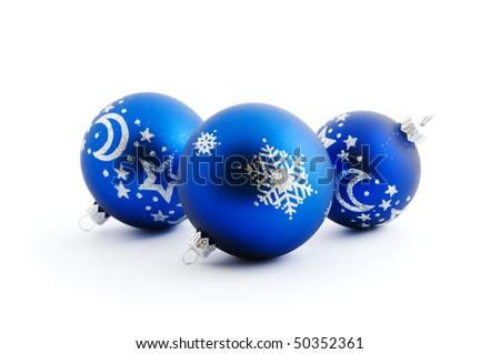 blue christmas balls on white background - stock photo