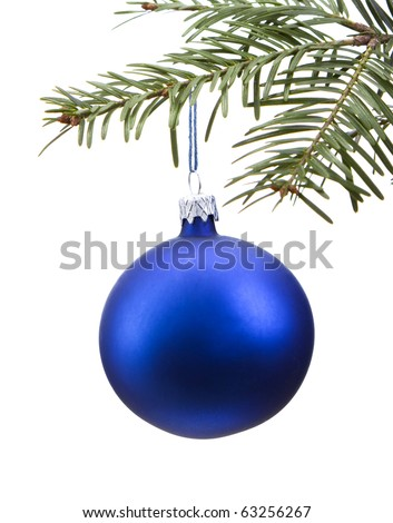 Blue Christmas bauble on the tree. Isolated on white background.