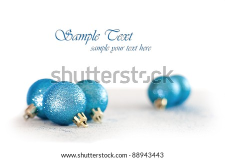 Blue Christmas baubles - stock photo