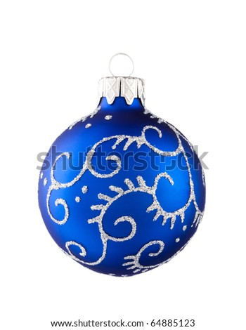 Blue Christmas baubles isolated on white - stock photo