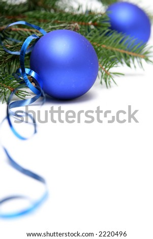 Blue christmas bulbs on a white background - stock photo