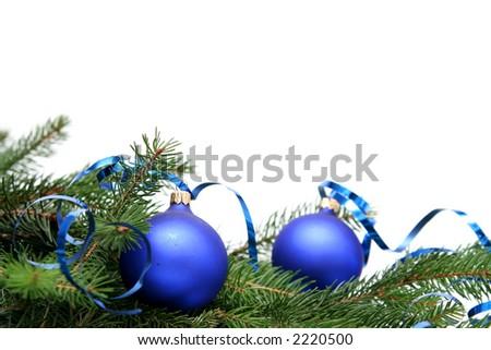 Blue christmas bulbs on a white background - stock photo