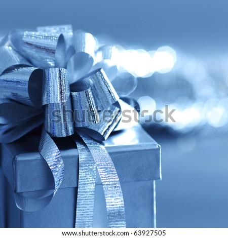 blue christmas card - stock photo