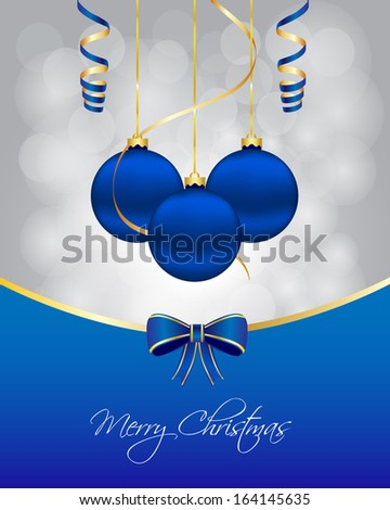 Blue Christmas card. Vector available.