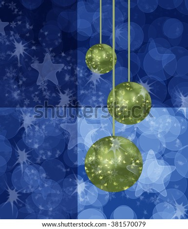 Blue Christmas card with green bauble balls stars and circles background - stock photo