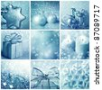 Blue christmas collage - stock photo