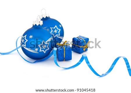 Blue christmas composition - stock photo