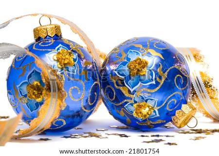 blue Christmas decoration balls with ribbon - stock photo