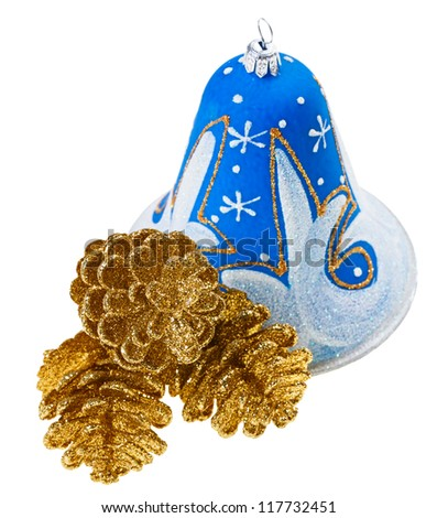 Blue christmas decoration bell and golden fircones, isolated on white - stock photo