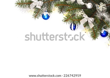 Blue Christmas decoration on a Christmas tree. Isolated on a white background. - stock photo