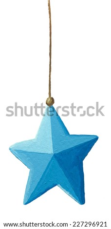 Blue Christmas decoration star hanging isolated on white background  - stock photo