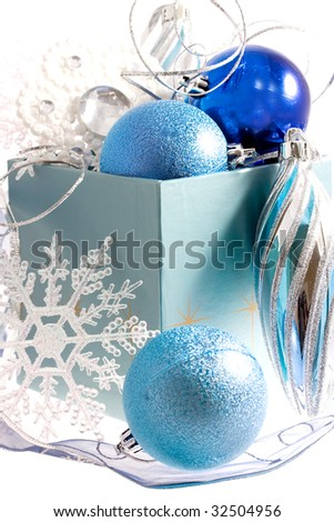 blue christmas decorations - stock photo