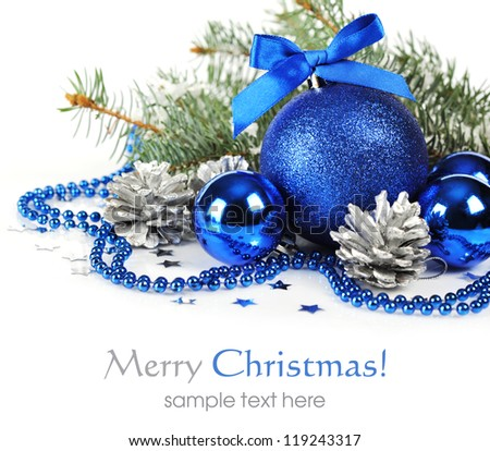 Blue Christmas Decorations Silver Pine Cones Stock Photo 119243317 ...