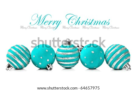 Blue christmas decorations on a white background with space for text - stock photo
