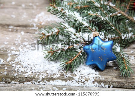 Blue Christmas decorations on a wooden background