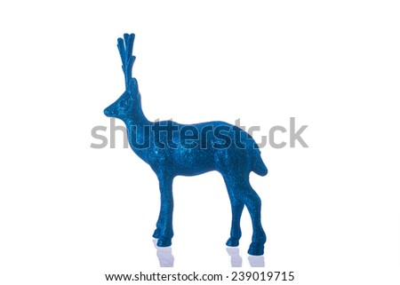 blue Christmas deer Isolated On White background - stock photo