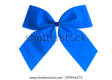Blue christmas gift bow isolated on white background