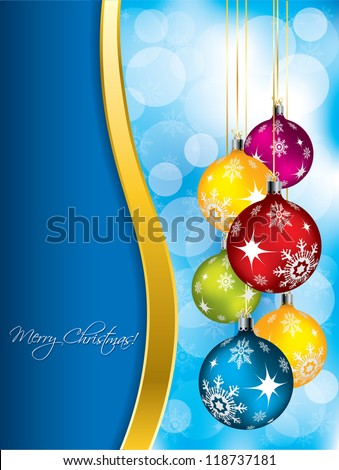 Blue christmas greeting card design with color decorations