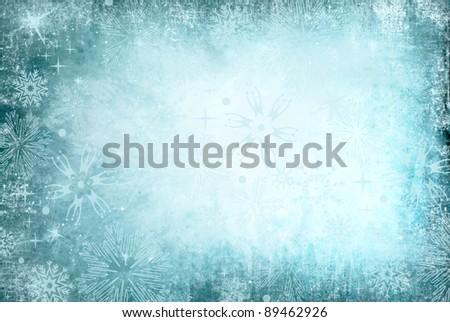 blue christmas grunge texture background - stock photo