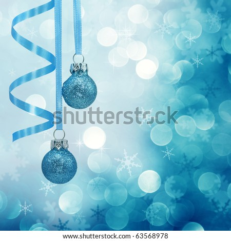 Blue christmas lights background with baubles - stock photo