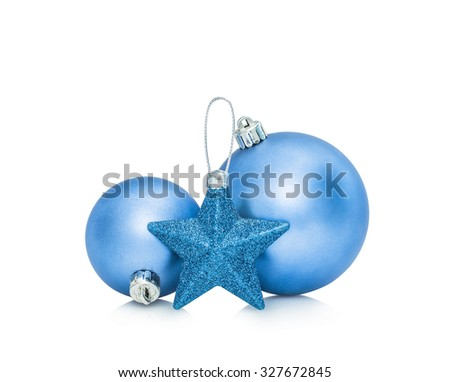 Blue Christmas New Year baubles balls and star decoration isolated on white background - stock photo