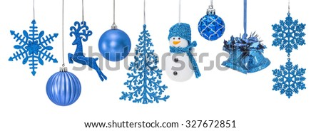 Blue Christmas New Year baubles for Christmas tree ornaments, pine, spruce, balls, snowflakes, bells, reindeer, snowman isolated on white