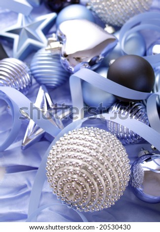 blue christmas ornaments background