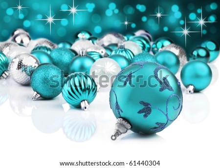 Blue christmas ornaments with star background - stock photo