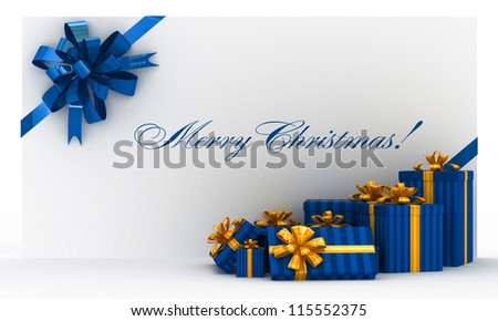 Blue christmas postal, envelope with gifts and bow on white - stock photo