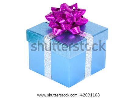 Blue Christmas present with a red bow isolated on white.
