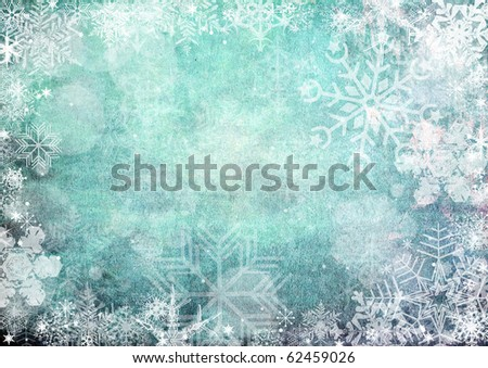 Blue christmas Seamless Pattern with snowflakes on blue background - stock photo