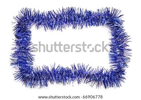 Blue Christmas tinsel border, isolated on white. - stock photo