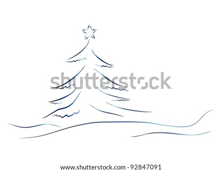 blue christmas tree - stock photo