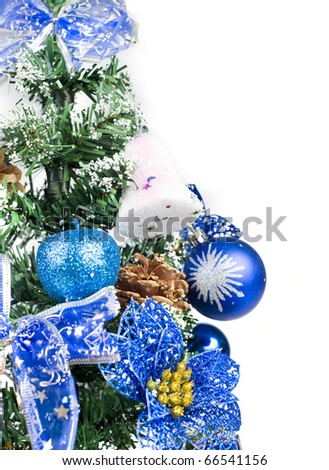 Blue christmas tree close-up with space for text