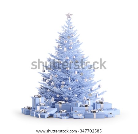 Blue christmas tree with silver baubles, gifts isolated over white 3d render - stock photo